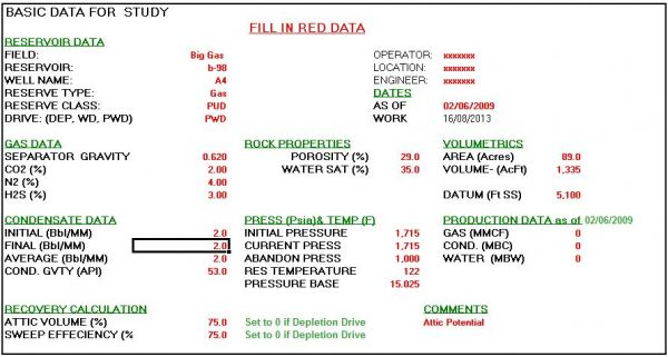 Volume Reservoir and Gas Reserve Calculator Spreadsheet Petroleum Engineering Software Application